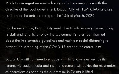 Bazaar City temporarily closes to comply with Cainta Community Quarantine directive.