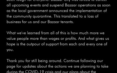 A message from Bazaar City about the current COVID-19 situation.